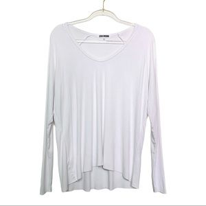 JOAH BROWN White Ribbed Long Sleeve High Low Top